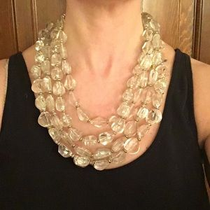 Lydell NYC Large Lucite Crystal Statement Necklace